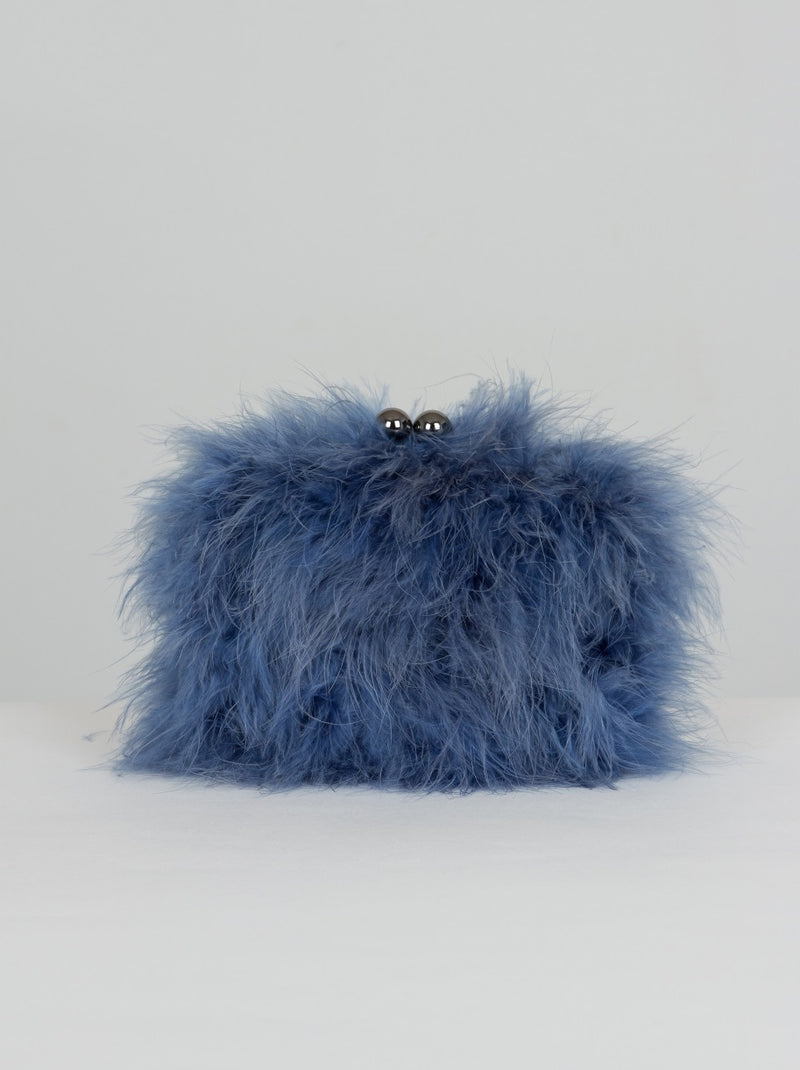 Blue fur bag
