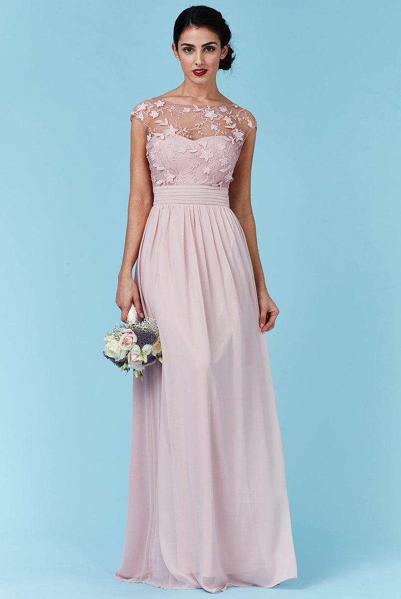 Goddiva Rose Chiffon Flower Detail Bridesmaid Dress