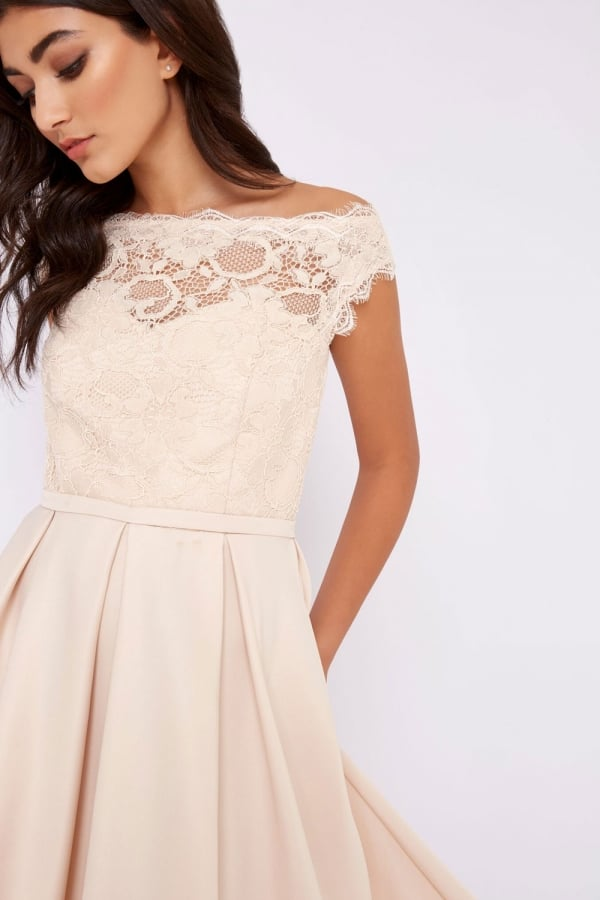 Little mistress cream bridesmaids dress