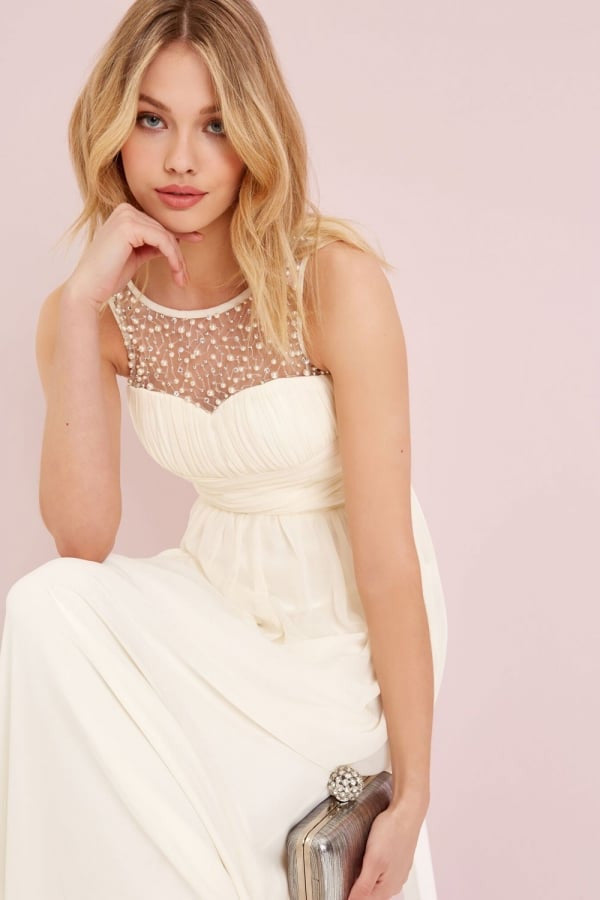 Little Mistress Cream Embellished Maxi Dress