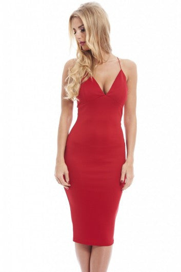 AX Paris Deep V Front Elasticated Straps Midi Dress - Glitzy Angel