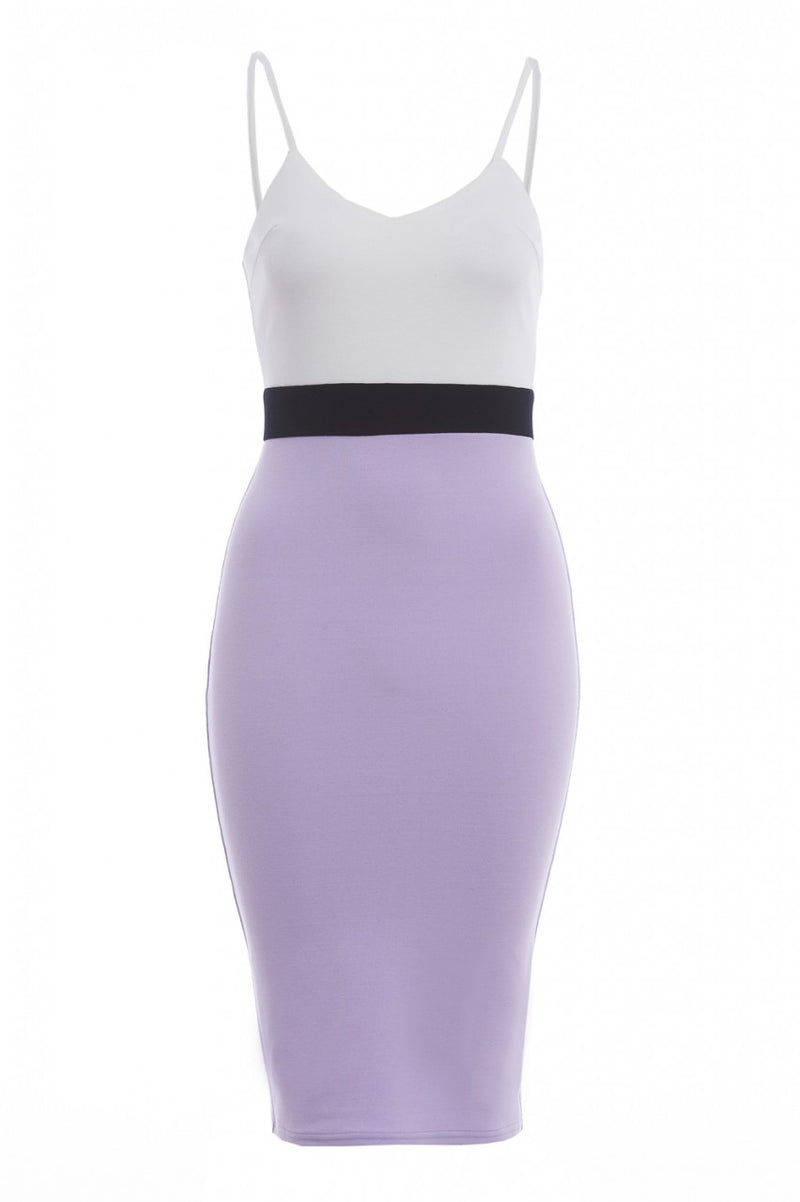AX Paris Strappy Colour Block Bodycon Midi Dress - Glitzy Angel