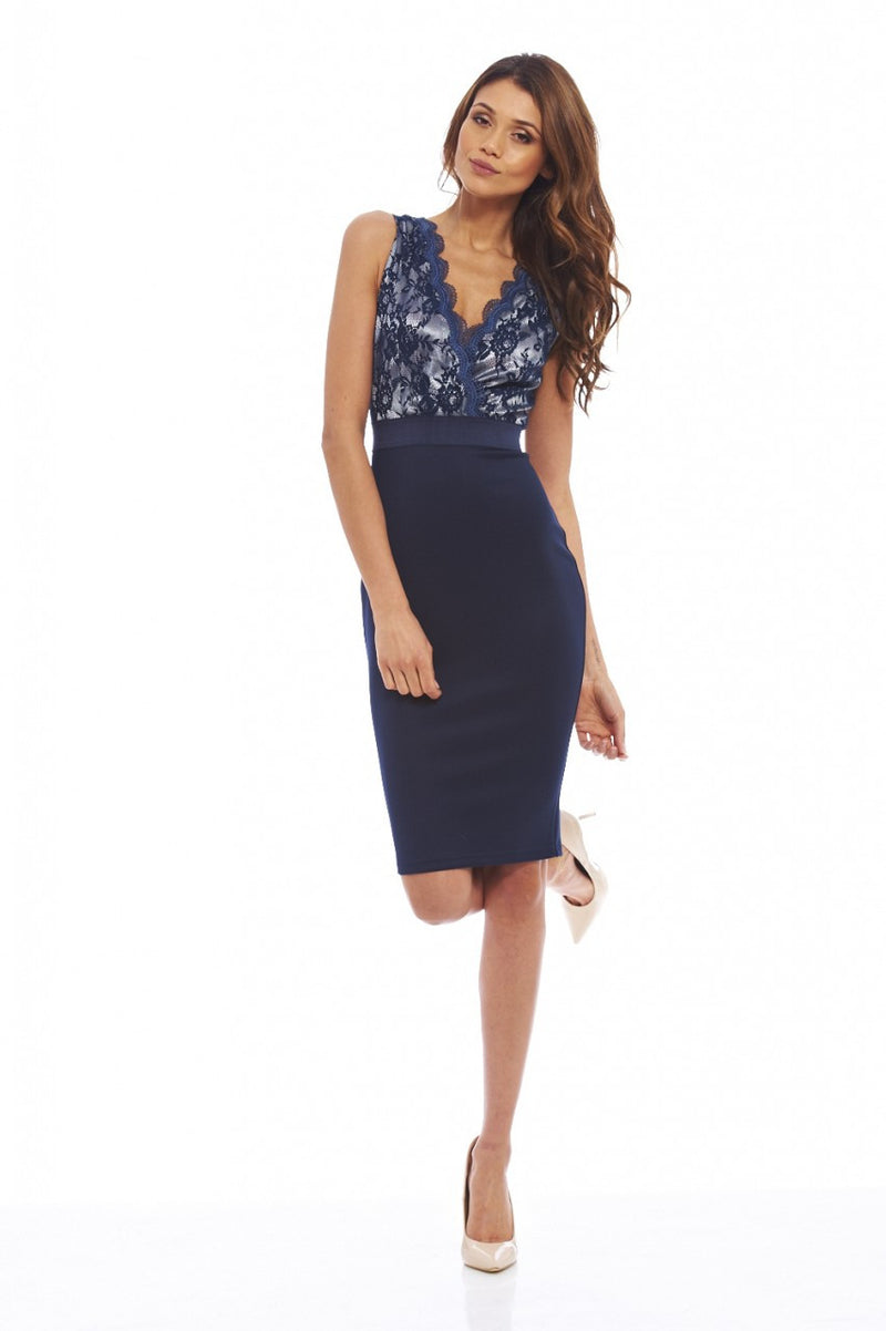 AX Paris Lace Contrast Bodycon Dress - Glitzy Angel