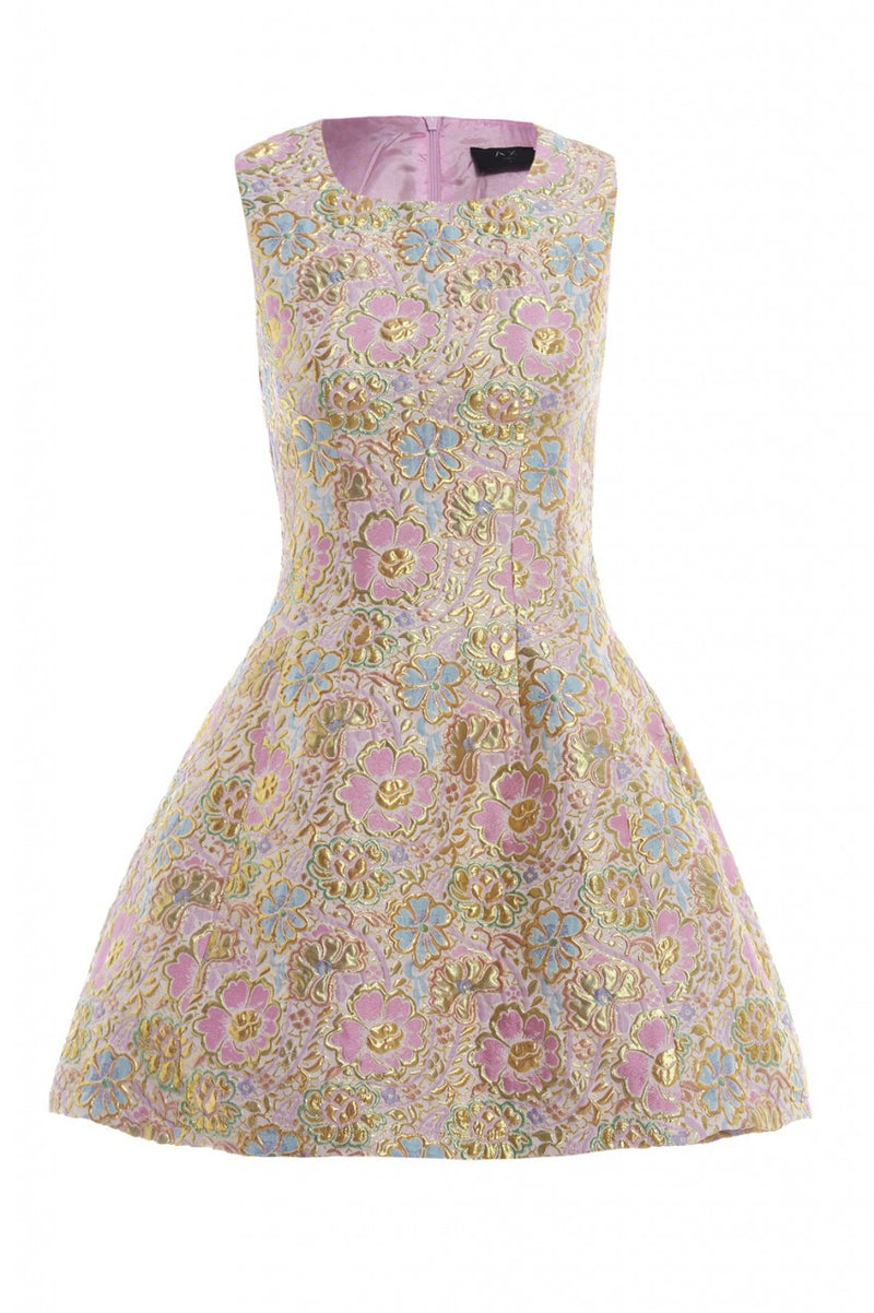 AX Paris Metallic Floral Skater Dress - Glitzy Angel