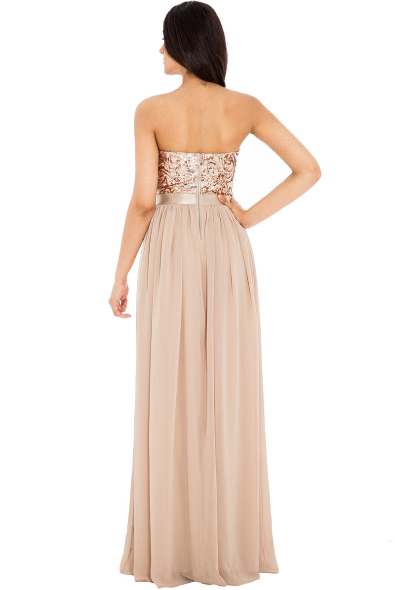 Gold Sequin Maxi Dress - Glitzy Angel