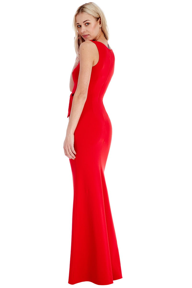 Goddiva Red Gathered Sleeveless Maxi Dress - Bridesmaids Dresses - Glitzy Angel