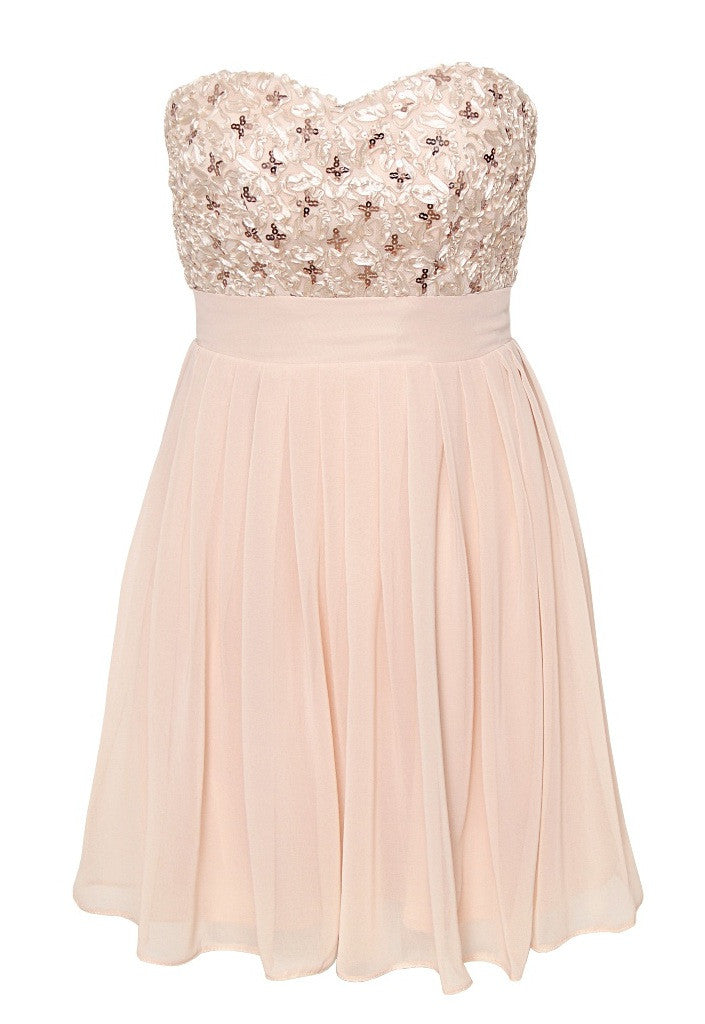 Elise Ryan Bandeau Skater Dress in Sequin Cornelli - Glitzy Angel