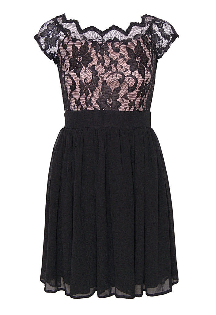 Elise Ryan Black Lace Dress - Party Dresses - Glitzy Angel