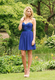 Elise Ryan Blue Satin Waist Party Dress