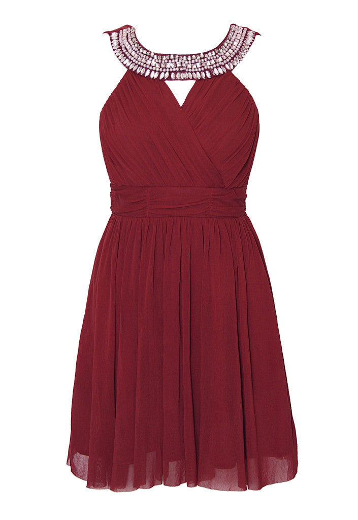 Elise Ryan Mesh Jewel Neck Burgundy Party Dress - Glitzy Angel