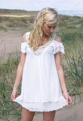 Elise Ryan Cream Chiffon Dress