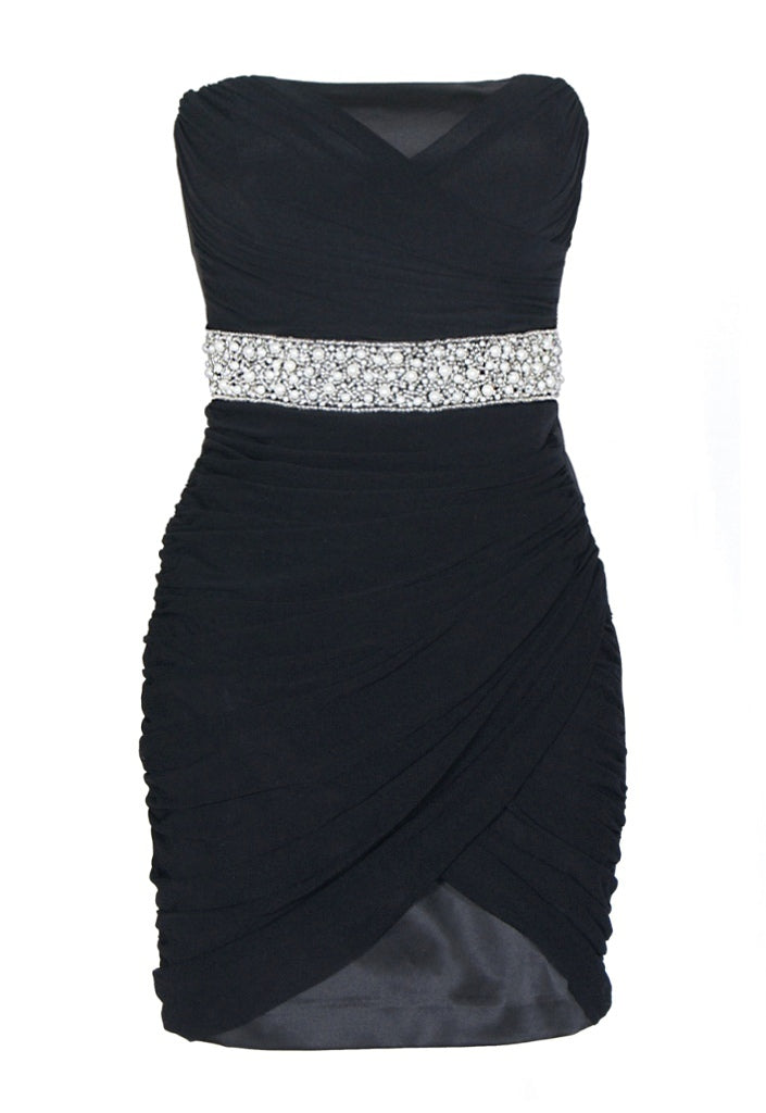 Elise Ryan Chiffon Pearl Dress Black - Party Dresses - Glitzy Angel
