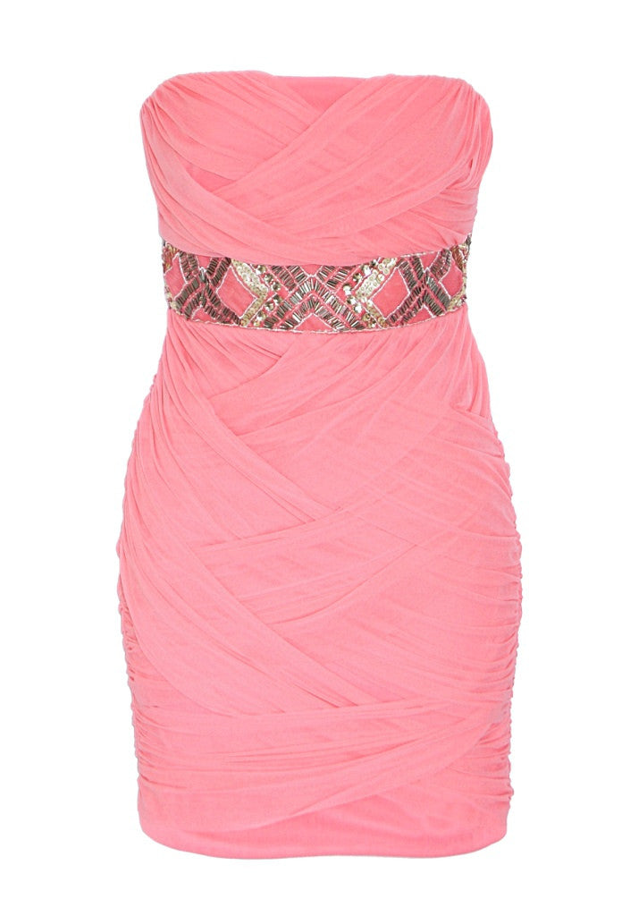 Elise Ryan Coral Bandeau Dress - Short Dresses - Glitzy Angel