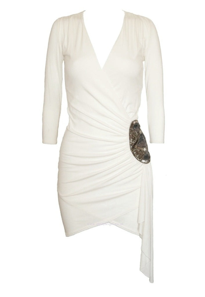 Elise Ryan Cream Embellished Jersey Dress - Glitzy Angel