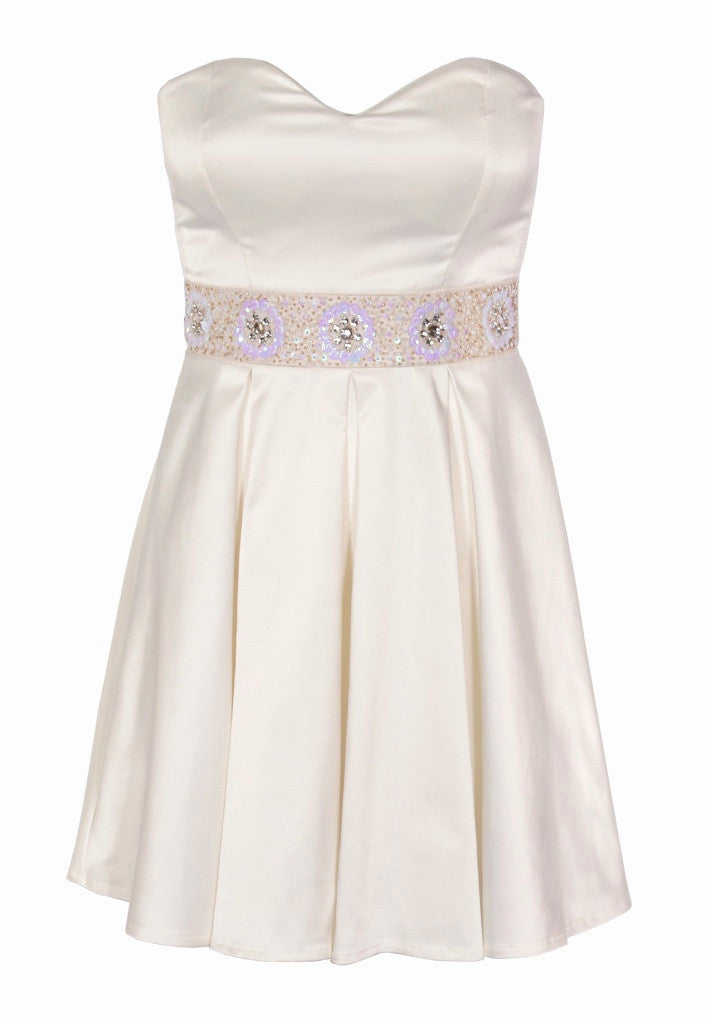 Elise Ryan Cream Strapless Dress - Glitzy Angel
