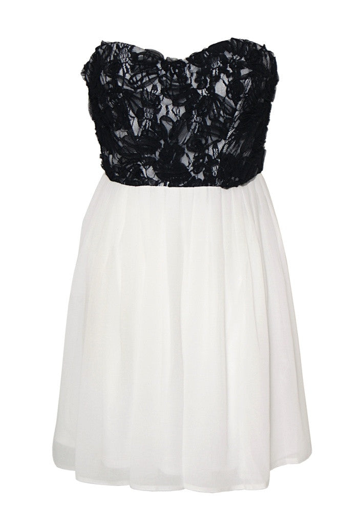 Elise Ryan Cream and Black Skater Dress - Wedding Guest Dresses - Glitzy Angel