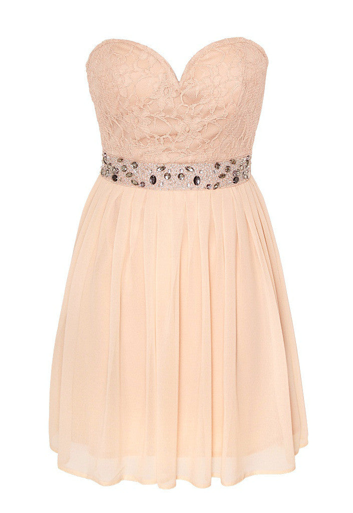 Elise Ryan Lace Embellished Waist Dress - Glitzy Angel