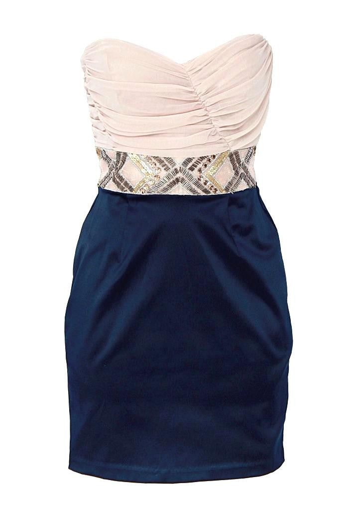 Elise Ryan Embellished Waist Dress - Glitzy Angel
