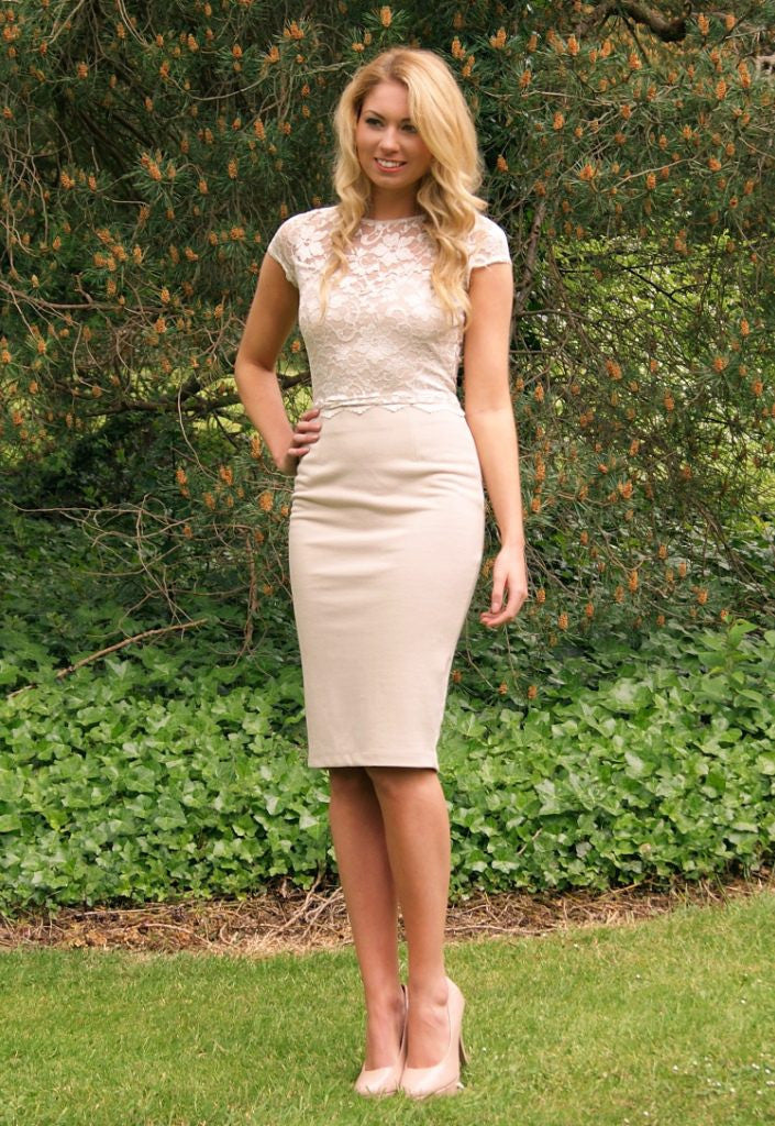 Elise Ryan Lace Midi Dress - Wedding Guest Dresses - Glitzy Angel