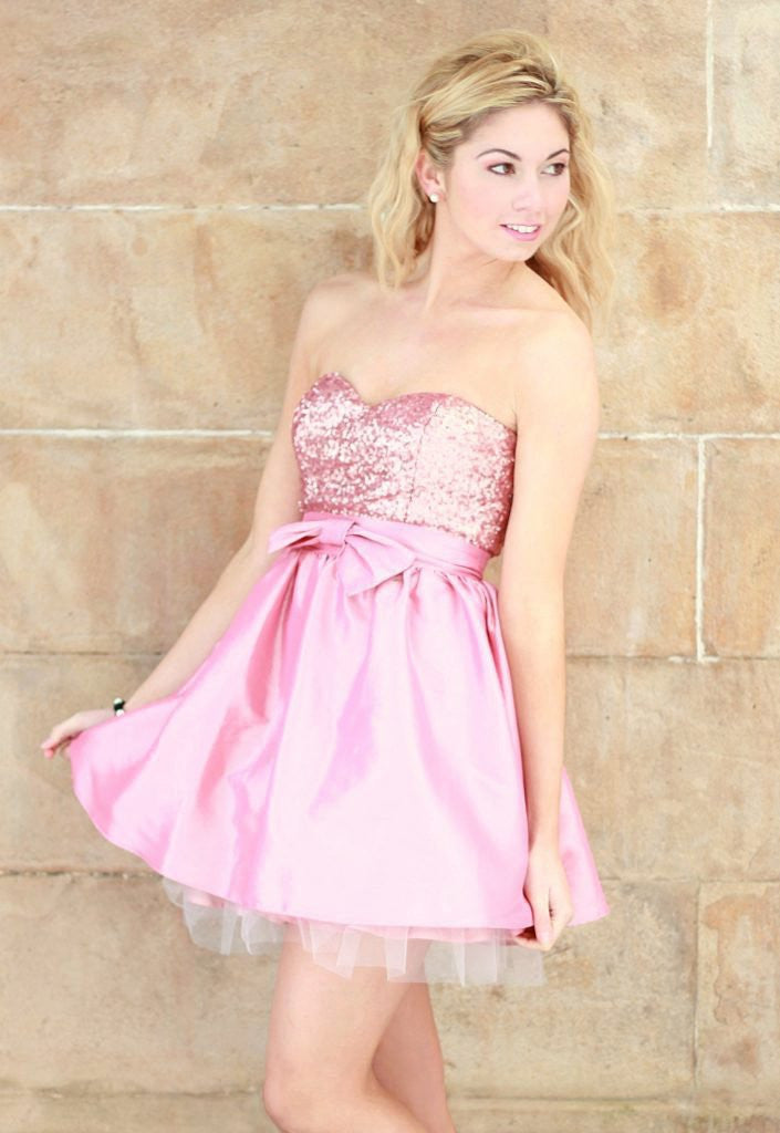 Elise Ryan Pink Bow Prom Dress - Wedding Guest Dresses - Glitzy Angel