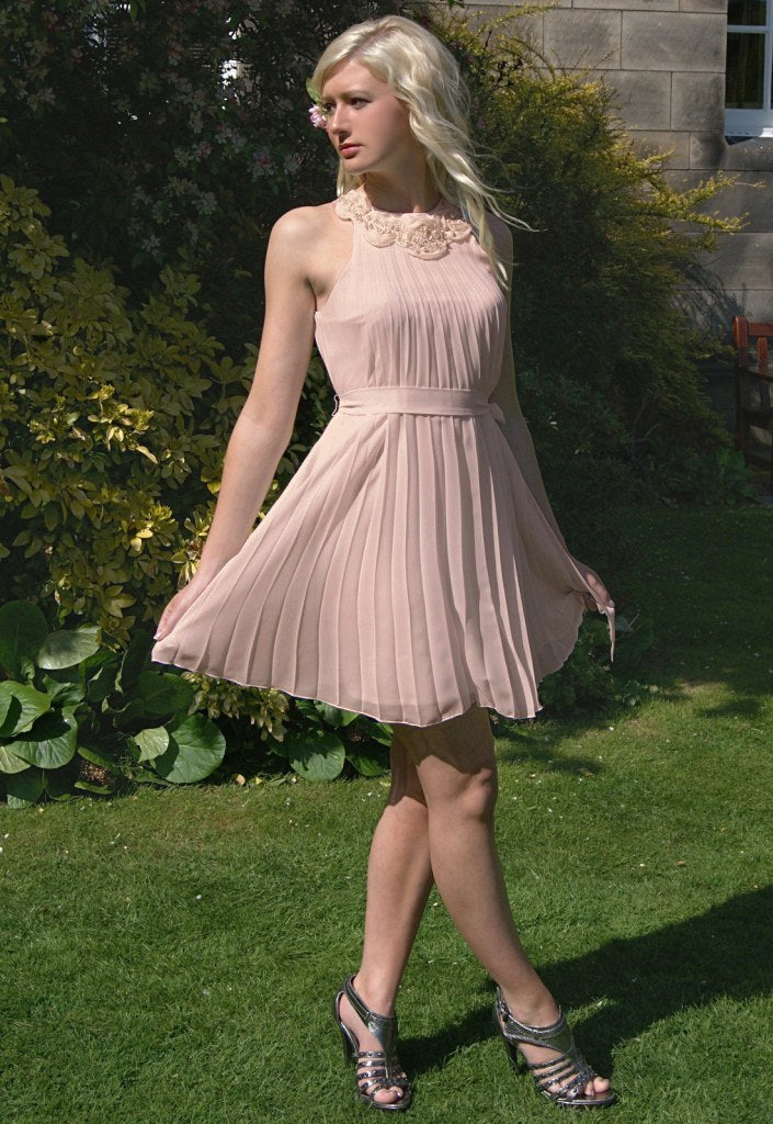 Elise Ryan Pleated Dress - Pink - Party Dresses - Glitzy Angel