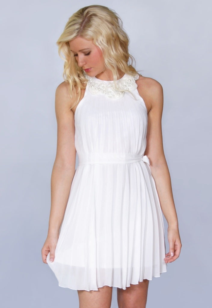 Elise Ryan Pleated Dress - Cream - Party Dresses - Glitzy Angel
