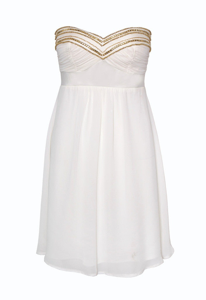 Elise Ryan Cream Bandeau Prom Dress - Party Dresses - Glitzy Angel