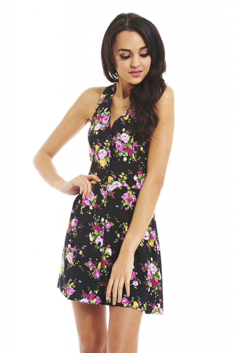 AX Paris Floral Open Back Dress - Glitzy Angel