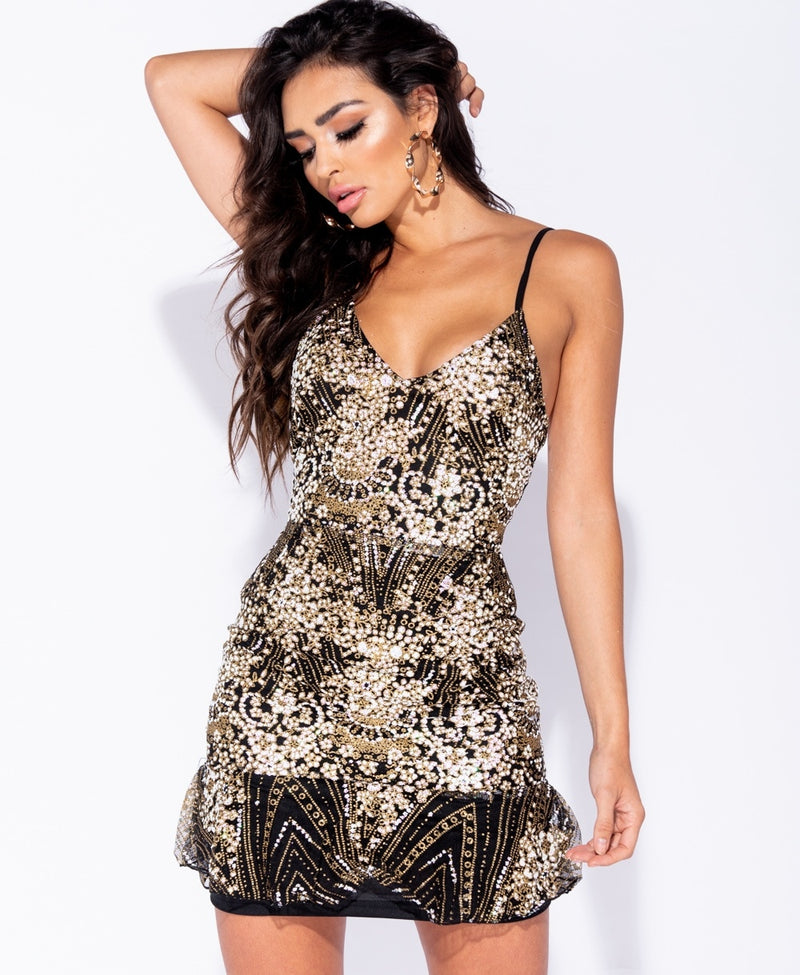 Glitter Print Lace Up Back Frill Hem Cami Mini Dress