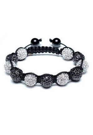 Glitzy Black and White Shamballa Bracelet - Glitzy Angel
