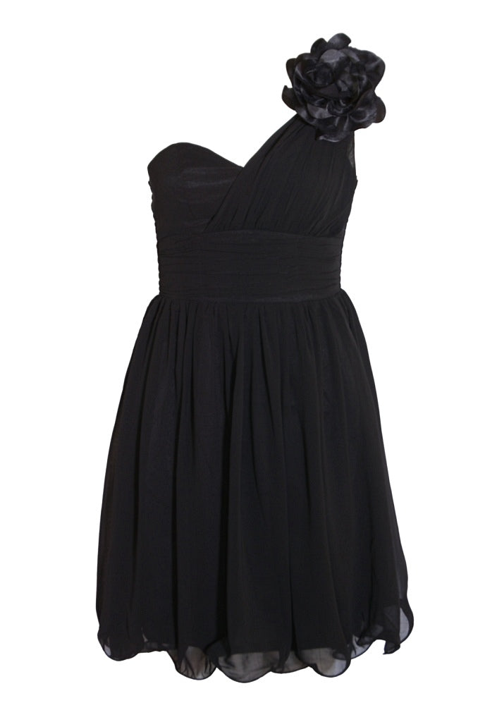 Black One Shoulder Party Dress - Glitzy Angel