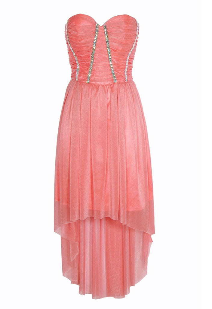 0028c090f72e Coral Pink High Low Dress - Dresses for Weddings