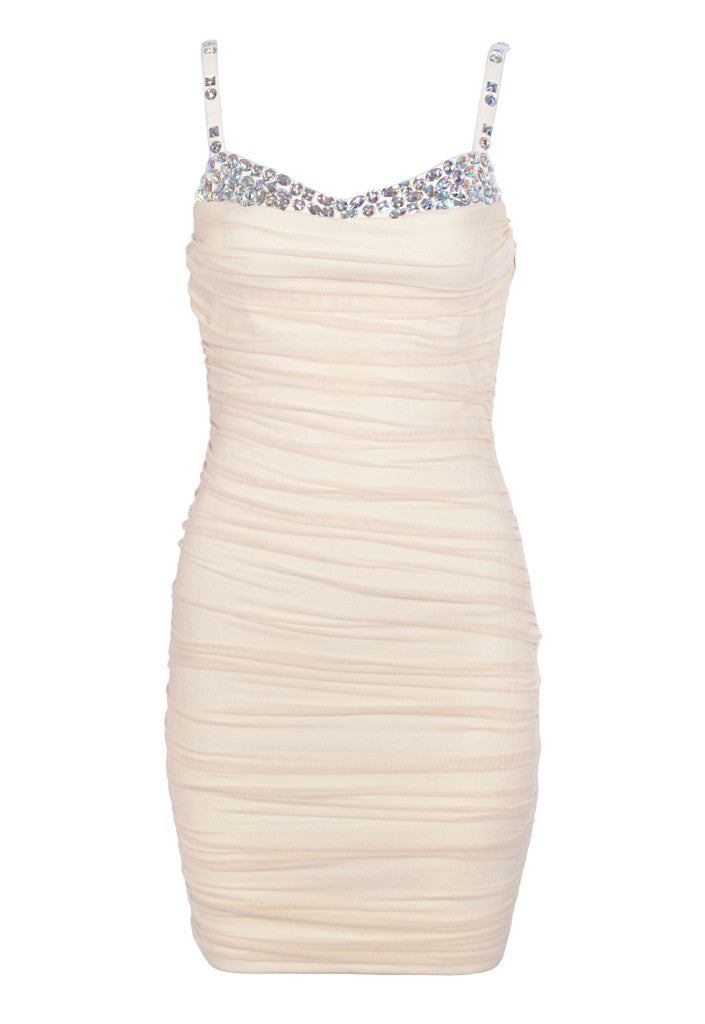 7746e54e96aa Cream Ruched Party Dress. £35.00. Sold Out. Lipsy Low Back Organza Flower  Dress - Wedding Guest Dresses - Glitzy Angel