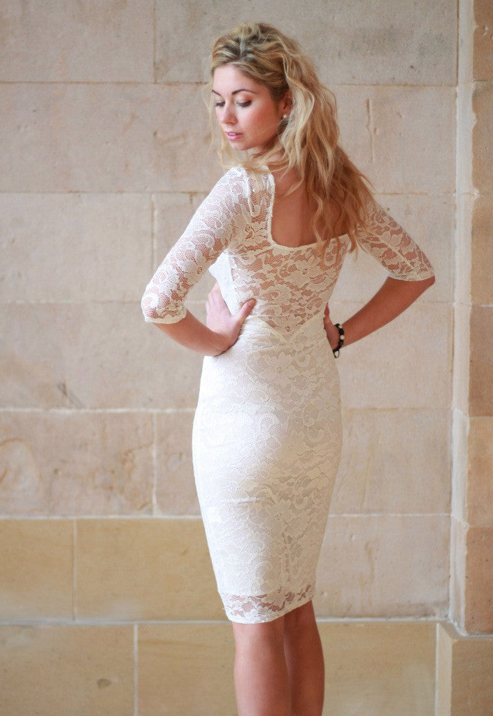 Cream Lace Pencil Dress - Party Dresses - Glitzy Angel