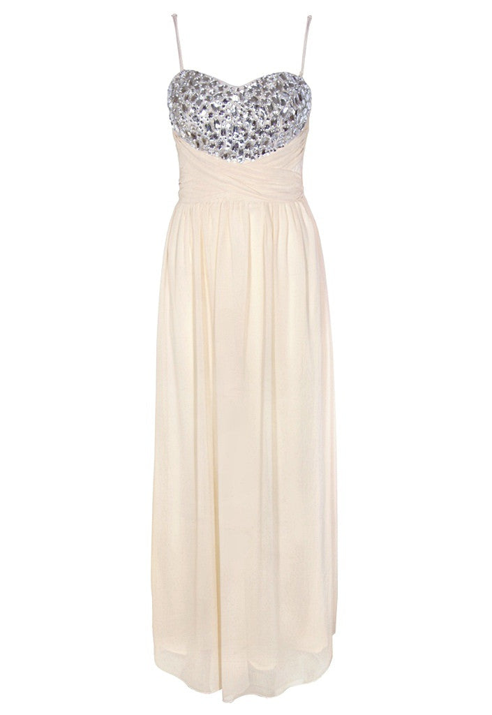 Cream Maxi Dress - Glitzy Angel