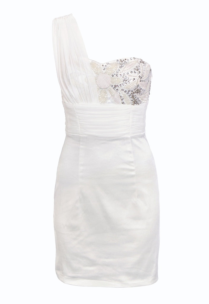 Cream One Shoulder Party Dress - Glitzy Angel