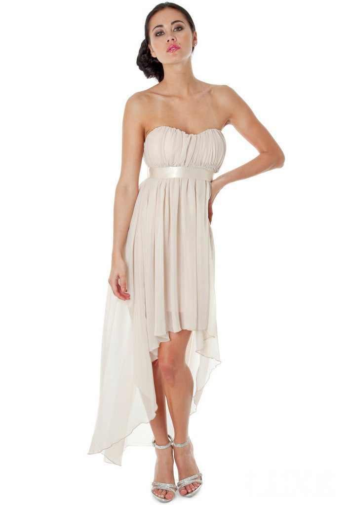 Nude Ribbon High Low Dress - Wedding Guest Dresses - Glitzy Angel