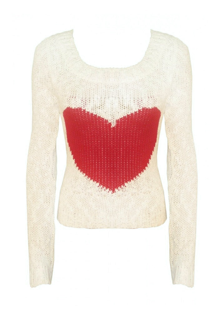 Love Heart Knitted Jumper - Glitzy Angel