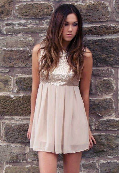 Rose Gold Sequin Party Dress - Short Dresses For Going Out - Glitzy Angel