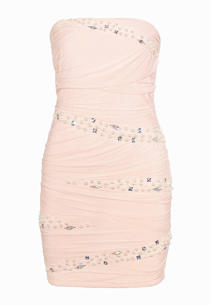 Pink Bandeau Dress - Party Dresses - Glitzy Angel