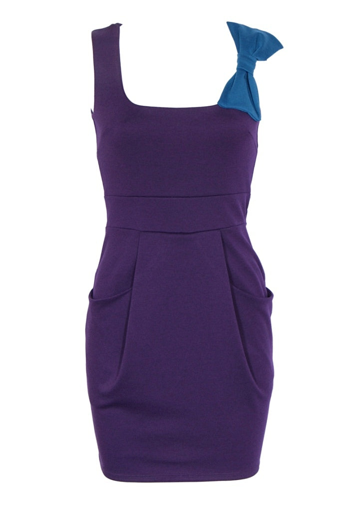 Purple Jersey Dress - Glitzy Angel