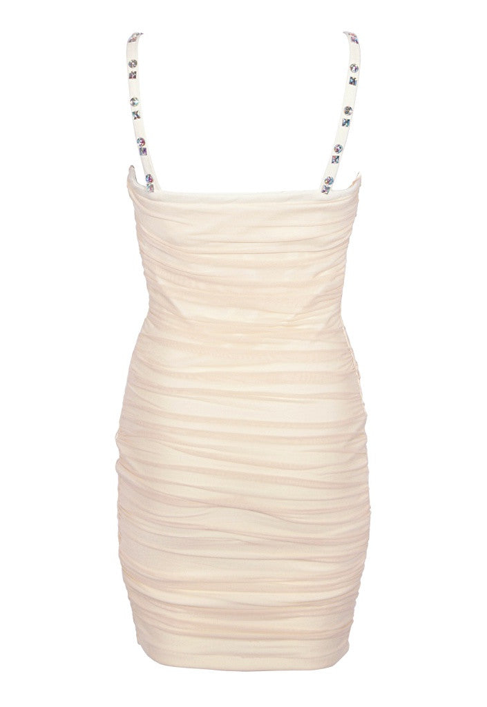 Cream Ruched Party Dress - Glitzy Angel