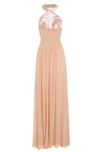 Gold Sequin Grecian Maxi Dress - Glitzy Angel