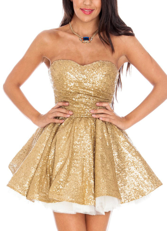 Glitzy Gold Sequin Ballerina Prom Dress - Glitzy Angel