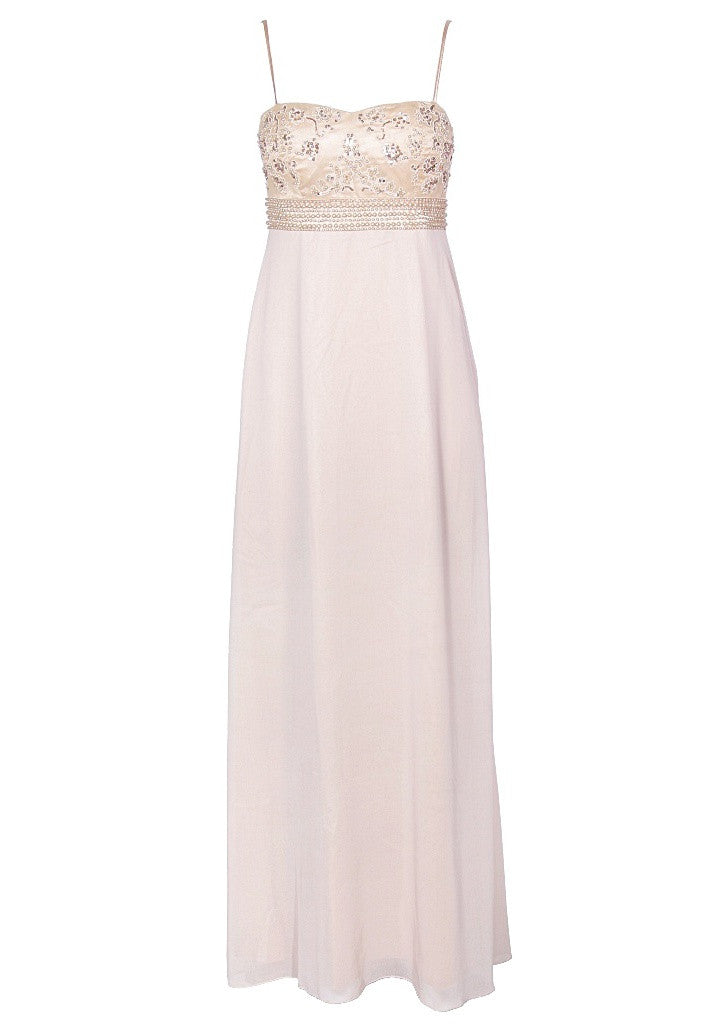 Nude Glitzy Maxi Dress - Glitzy Angel