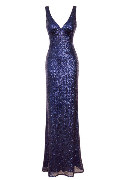 Midnight Blue Sequin Maxi Dress - Glitzy Angel