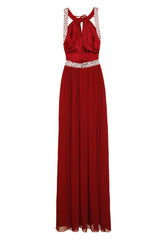 Glitzy Wine Grecian Maxi Dress Gown