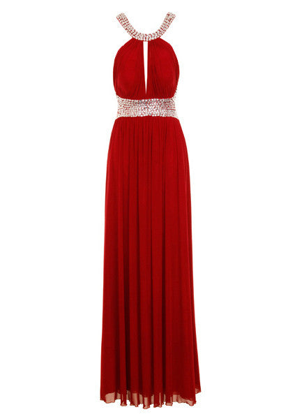 Glitzy Wine Grecian Maxi Dress Gown - Glitzy Angel