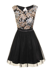 Glitzy Gold and Black Sequin Skater Dress