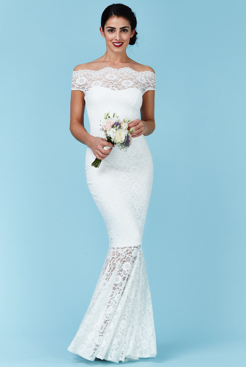 Goddiva Bardot Lace Maxi Wedding Dress
